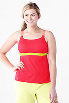 Lands' End Women's Plus Size AquaSport Scoop Tankini Swimsuit Top-Mint/Light Gray