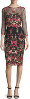 Marchesa 3/4-Sleeve Floral Embroidered Tulle Sheath Dress, Black