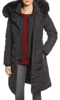 1 Madison Faux Fur Trim Hooded Down & Feather Fill Long Coat