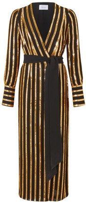 Galvan Pride Sequin Stripe Wrap Dress