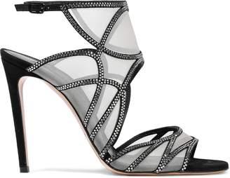 Casadei Crystal-embellished Suede And Mesh Sandals