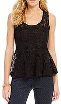 Jessica Simpson Regine Leaf Lace Peplum Top