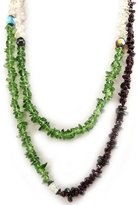 Les Trésors De Lily Double-length necklace 'Splendeur Nature' amethyst / peridot / quartz.