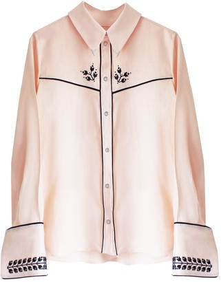 Florence Bridge Embroidered Cowboy Shirt Pale Peach