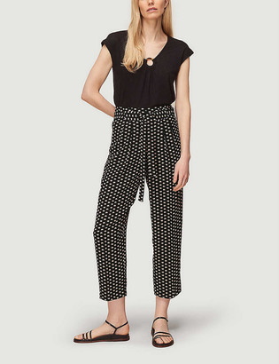 Whistles Elephant-print high-rise crepe trousers