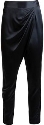 Mason by Michelle Mason Draped-Detailing Slim-Fit Trousers