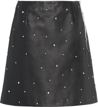 Miu Miu Crystal-Embellished Leather Skirt