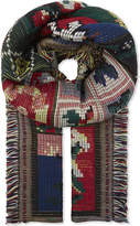 Alexander McQueen Cross stitch tapestry wool scarf