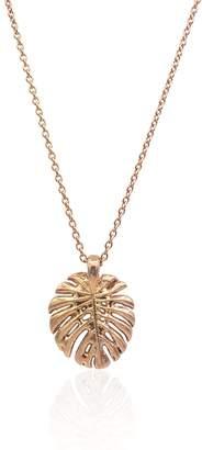 Eliza J Bautista Monstera Tropical Leaf Necklace In 18K Rose Gold Vermeil