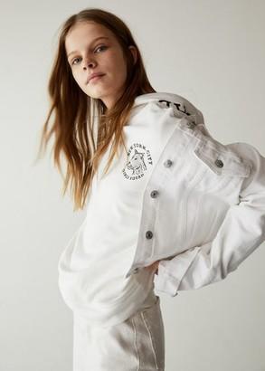 MANGO Printed hoodie off white - XXS - Kids