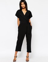 Asos Wrap Front Jumpsuit With Tie Waist
