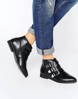 London Rebel Metal Trim Flat Boot