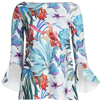 Chiara Boni Badia Floral-Print Bell-Sleeve Top