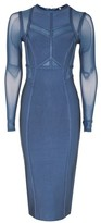 Topshop Long Sleeve Panel Mesh Midi Dress