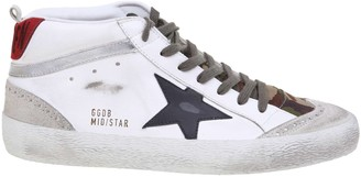 Golden Goose Mid Star Sneakers In Leather And Comouflage Fabric