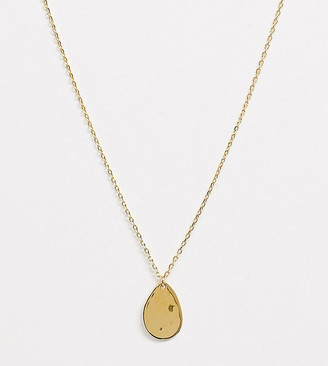 Orelia hammered teardrop necklace in gold plate