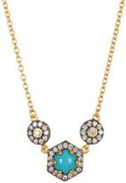 Freida Rothman 14K Gold & Black Rhodium Plated Sterling Silver CZ Metropolitan Stone Pendant Necklace