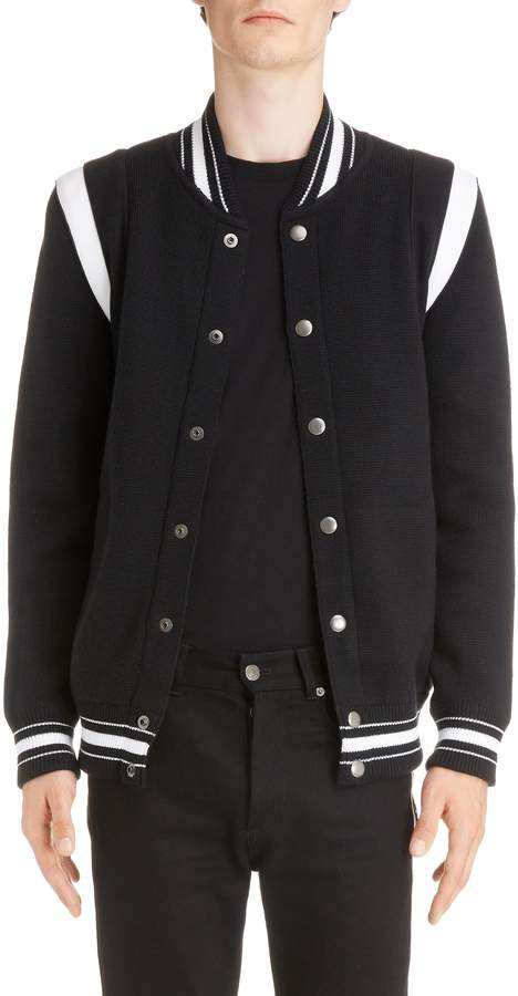 Givenchy Knit Teddy Wool Varsity Jacket