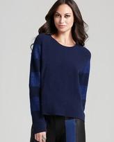 Halston Long Sleeve Lurex Stripe Sweater