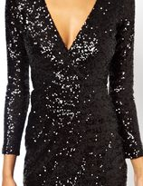 Asos Sequin Midi Dress With Wrap