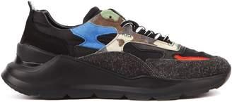 D.A.T.E Black Fuga Camo Nylon & Leather Sneaker