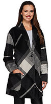 As Is LOGO by Lori Goldstein Drop Shoulder Plaid Coat with Patch Pockets