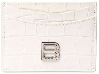 Balenciaga Hour Croc Embossed Leather Card Holder