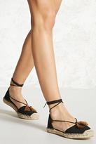 Forever 21 FOREVER 21+ Tasseled Ankle-Wrap Espadrilles