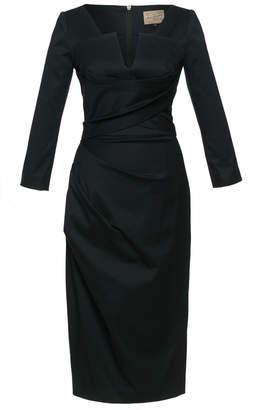 Lena Hoschek Credit Gathered Stretch Cotton-Blend Midi Dress