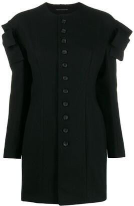 Yohji Yamamoto cut-off ruffle detail buttoned blouse