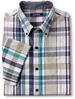 Lands' End Men's Big and Tall Traditional Fit Madras Shirt-Blue/Yellow Plaid