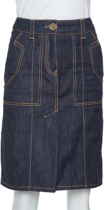 Louis Vuitton Dark Blue Denim Pleat Detail Skirt S