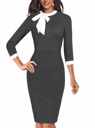 Moyabo Women's Retro Tie Neck 3/4 Sleeve Bodycon Knee-Length Formal Office Church Pencil Dress Navy Blue XX- Large
