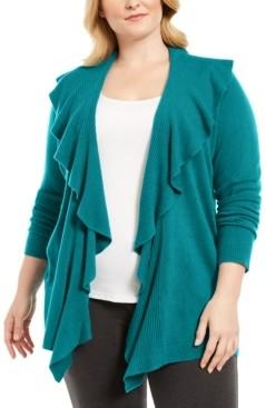 Karen Scott Plus Size Ruffle Neckline Cardigan Sweater, Created for Macy's