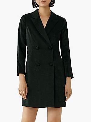 Warehouse Tuxedo Mini Dress, Black