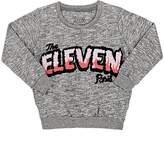 Little Eleven Paris KIDS' LOGO MÉLANGE COTTON-BLEND FLEECE SWEATSHIRT