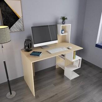 Ebern Designs Femmie Desk with Bookshelf