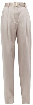 Sies Marjan Blanche High-rise Cotton-blend Satin Trousers - Light Grey