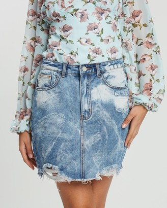 Missguided Bleach Ripped A-Line Denim Skirt