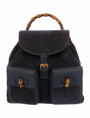 Gucci Vintage Leather Bamboo Backpack Navy