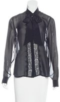 Equipment Silk Lace-Accented Blouse