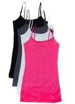 Active Products 4 Pack Active Basic Women's Basic Tank Top (L-Wh/Dst Slmn/Dst Sg/Bk)