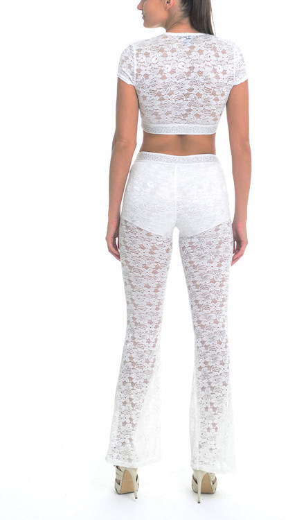 Sentimental NY - Two Piece Cropped Lace Set With Flared Pants With Embellished Elastic Band Detail