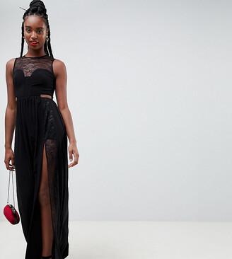 Asos Tall DESIGN Tall lace insert slinky maxi dress-Black