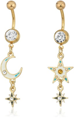 Body Candy Women's Steel Gold Toned Celetial Half Moon Star Belly Body Piercing Ring Set of 2 One Size