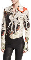 Awake Mr. Octopus Head Long-Sleeve Button-Front Shirt