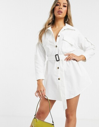 I SAW IT FIRST drop shoulder belted oversized shirt dress-White
