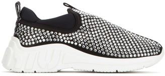 Miu Miu Crystal Embellished Slip-On Sneakers