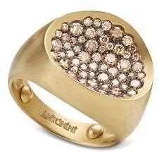 Antonini Matte 18K Yellow Gold Matera Small Pavé Cognac Diamond Ring