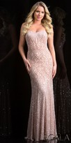 Scala Sweetheart Scroll Beaded Flared Bottom Prom Dress